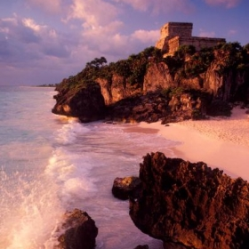 Mayan ruin of Tulum on the coast of the Yucatan Peninsula in Mexico.