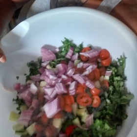 Fresh salad. I can share how to prepare it.