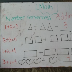 A multilayer approach of using shapes to teach the number sentence as well as show different ways adding numbers can be expressed.