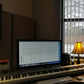 A pleasant day at the office, working on a new composition during a hard snowfall.