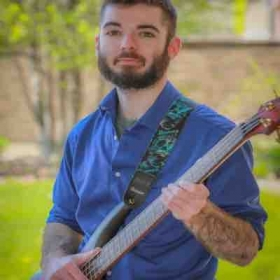 Picture day playing bass with my church group.