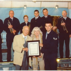 Presenting a framed score of an arrangement I once created for Robert & Margrit Mondavi (owners of the Mondavi Winery).