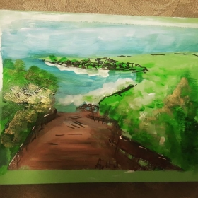 I paint small landscapes. We can also do this in class.