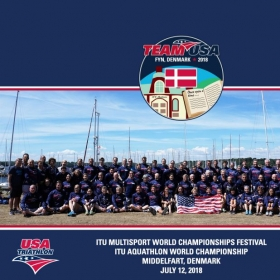 2018 ITU World Multi-sport Championships, Team USA Group photo. Odense - Middlefart, Denmark.  July 6th - 14th, 2018.