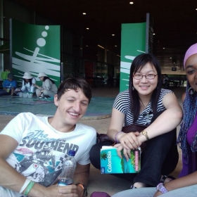 Spanish students on one of my immersion classes. Karl is from Germany and LLuvia is from China.