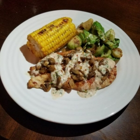 Creamy Mushroom Chicken w/ sauteed brussel sprouts and corn on the cob