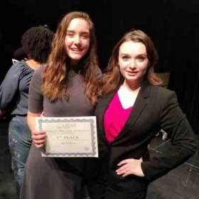 Me with Voice Student Brye Sebring after she won 1st place at the NATS musical theatre competition 🏆