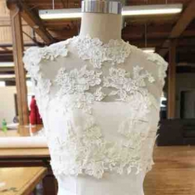 2nd fitting for lace dress overlay.
