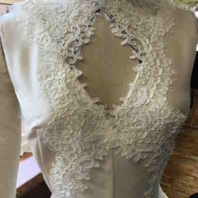 Draping and rough placement of lace for bridal gown