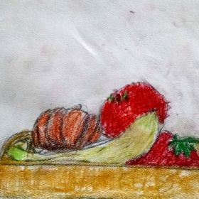 Fruit and pumpkin still life using oil pastels.