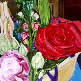 Floral acrylic painting.