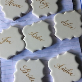 Copperplate place cards for a wedding