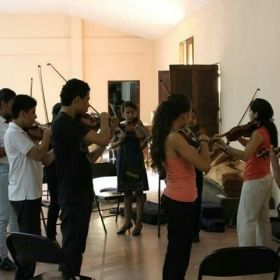 Teaching a masterclass, Guanacaste, Costa Rica, as part of  a National Symphony Orchestra National Tour