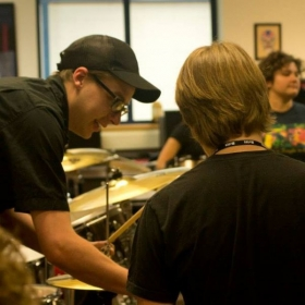 Teaching drums at the Britt Festival Rock Camp