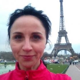 Jogging in Paris, France.