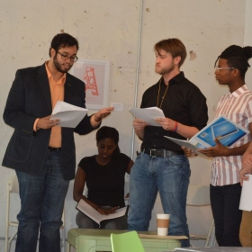 """Trutt onstage at a reading of """"Othello Goes South,"""" by Andrew Burnette"""