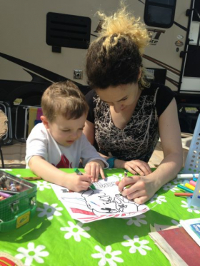 Coloring with my nephew :D