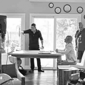 Giving acting lessons on set for a short film