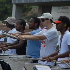 Doing some stick tricks at ODU on the snare line.