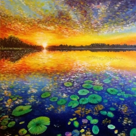 Lotus Pond, Oil on Canvas, Jessica Hamilton 2013
