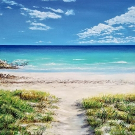 Tranquil Beach, Oil on Canvas, Jessica Hamilton, 2018