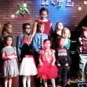 Students gathering for a group photo after the 2016 Holiday Recital