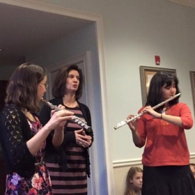 Performing with one of my students and her mother at our Flute Studio Recital