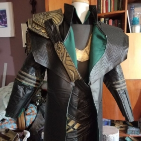 Loki the god of mischief cosplay from the first Avengers film.