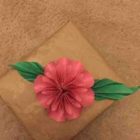 Paper flower and leaves
