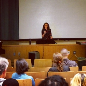 Leading an introduction to mindfulness workshop for teachers in Queens, NYC.