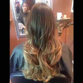 Caramel ombré with long layers
