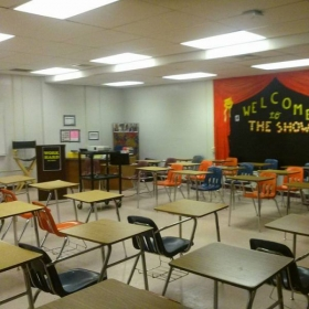 My classroom during last assignment, teaching theater and English 3 at Northeast High School ( 2017).