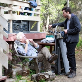 "Zach directs Academy Award nominee and Golden Globe winner Bruce Davison on set of ""The Lightkeeper."""