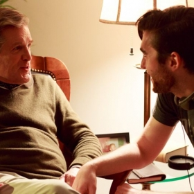 "Zach directing two-time Tony Award nominee Anthony Heald (""Silence of the Lambs"") on set of ""The Stairs."""