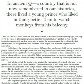 The opening page of a short story entitled 'The Prince, the Pomegranate and the Monkey's Paw.'