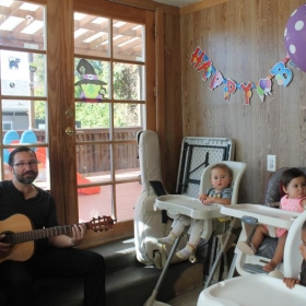 Playing kids songs for my kids' daycare group