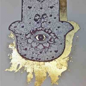 Ink drawing with gold leaf.