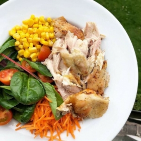 grilled shredded chicken and vegetable salad. no cream