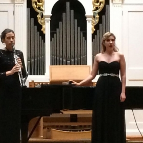 """Performing Schubert's """"Shepherd On The Rock"""" with the Hearts Of Palm Chamber Trio."""