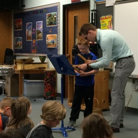 Teaching a rhythm lesson during my student teaching placement.