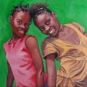 "18""x24"" Haitian Girls in  oils,  photo taken by Linda Ruth Paskell  from her travels"