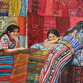 """16"""" x24"""" oils, Guatemala Girls selling fabric,  photo by Linda Ruth Paskell from her travels."""
