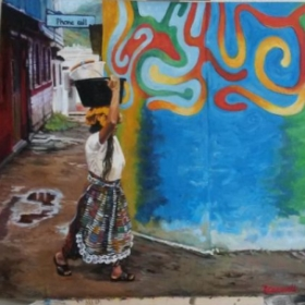 "18""x18"" oils, Guatemala Woman with Bucket, photo taken by Linda Ruth Paskell from her travels."