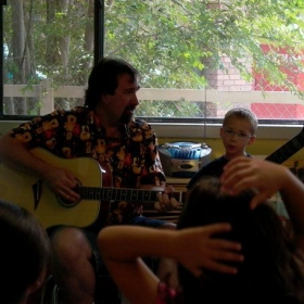 Singing with the kids at my son's daycare.