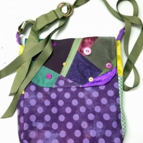 cross body bag made from fabric scraps