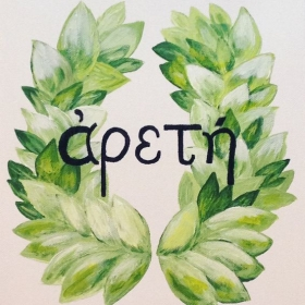 "Presented to bookstore that hosted a monthly evening with special word as a theme. This Greek word means ""excellence."""