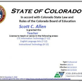 My teaching license for proof.