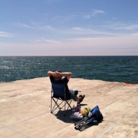 "Lake Michigan, on the pier ""up north."""