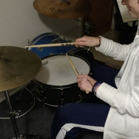 "On of my students ""J"" showing off her improved stick-technique on the auxiliary kit !"