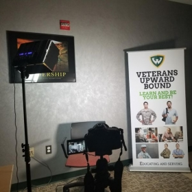 Interview lighting set up for a  Testimonial video for the Company  I use to Tutour and Teach USA Veterans Spanish :)